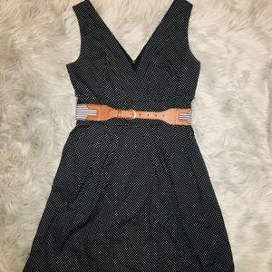 Dresses & Skirts - Black and white polka dot dress with striped belt